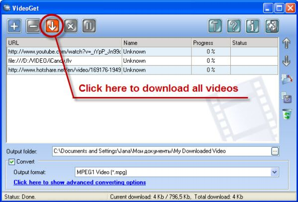Start video download